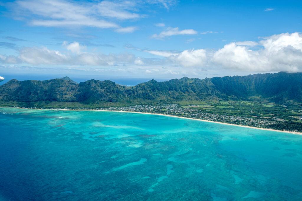 空から見たカイルアビーチの眺め