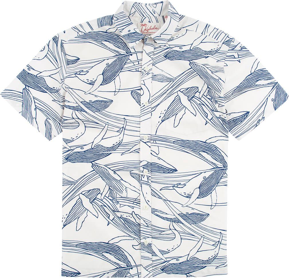 ザトウクジラを柄にしたアロハシャツ