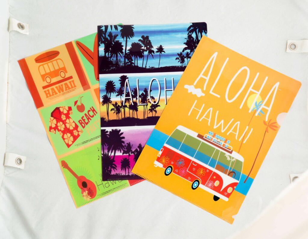 ハワイ柄のクリアファイル