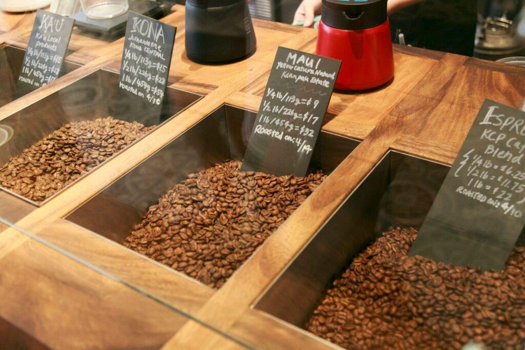 各種コーヒー豆の量り売り