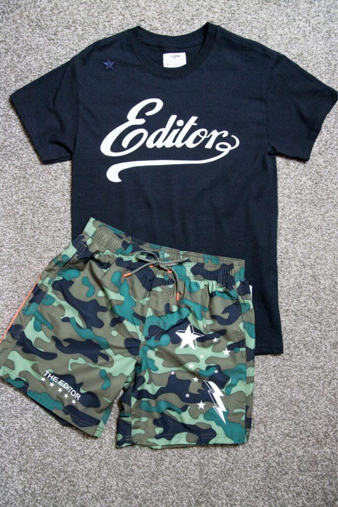 THE EDITORのTシャツとサーフパンツ